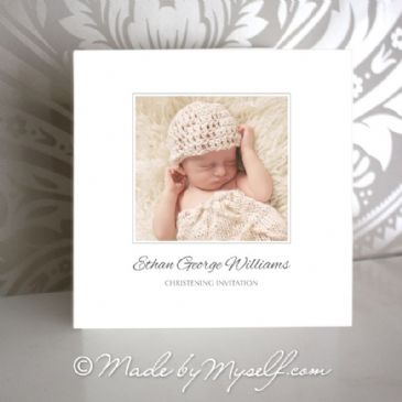 Custom Photo Christening Invitation (Formal Square)
